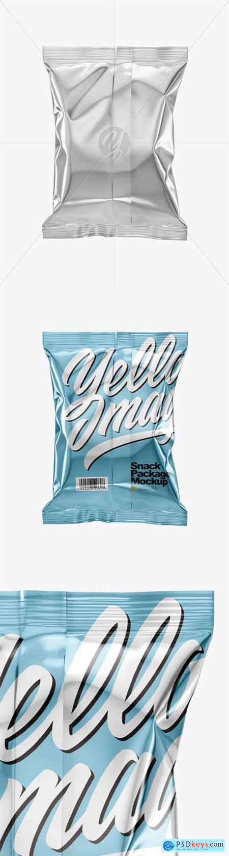 Metallic Snack Package Mockup - Back View 50597