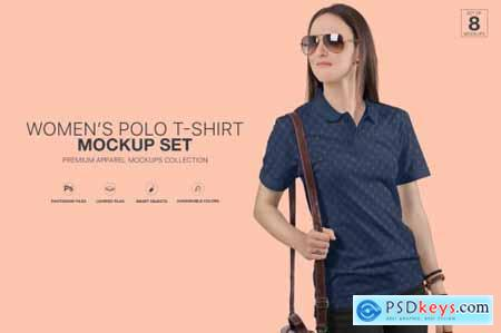 Womens Polo T-Shirt Mockup Set