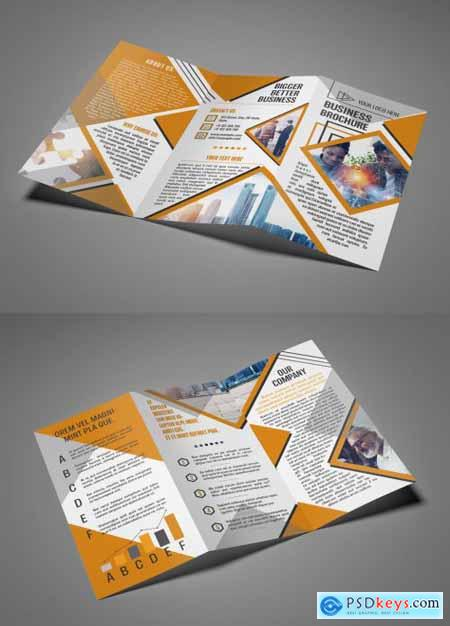 2 Page Business Trifold Brochure Layout with Orange Accents