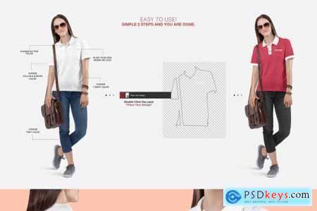 Womens Polo T-Shirt Mockup Set