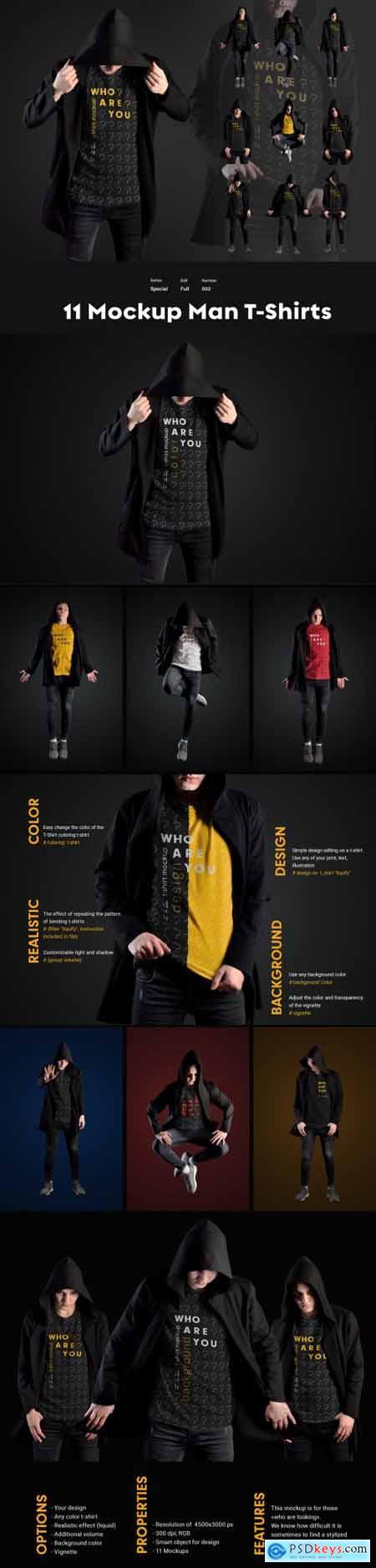 11 Mockups Man T-Shirts in a Black Hood Mantle