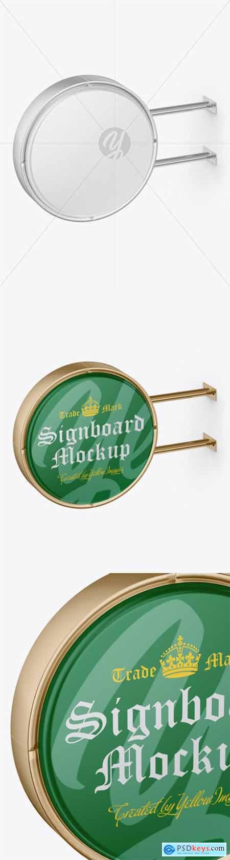 Matte Metallic Round Signboard Mockup 51699