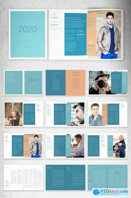 Annual Report Layout with Aqua and Coral Accents