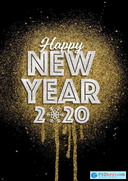 Happy New Year 2020 Glitter Style Text Effect