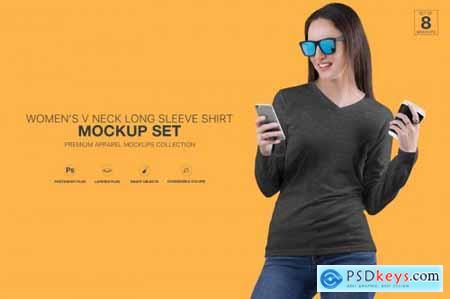 Womens V Neck Long Sleeve Shirt Mockup Set