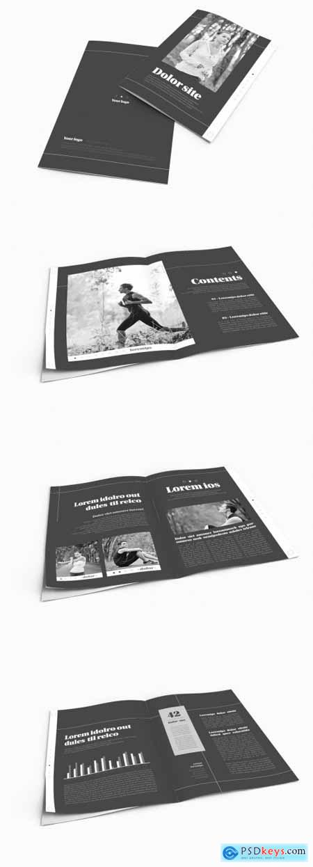 Bifold Brochure Layout with Black and Grey Accents