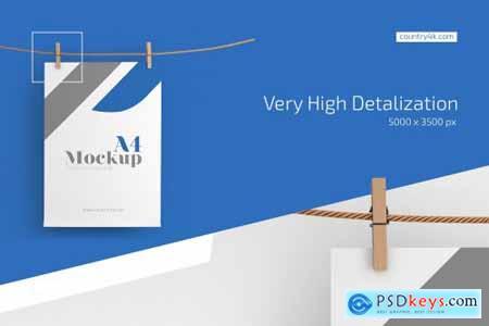 A4 Flyer Paper Mockup Set 4365211