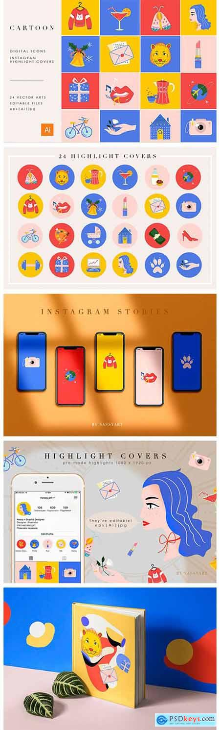 24 Cartoon Highlight Icon Set 4264884