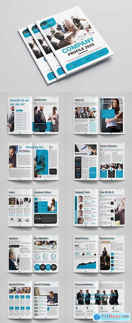 Company Profile Layout with Blue Accents 309032563
