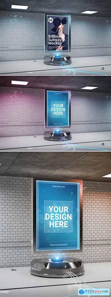 Futuristic Billboard Mockup in Tunnel 308767529