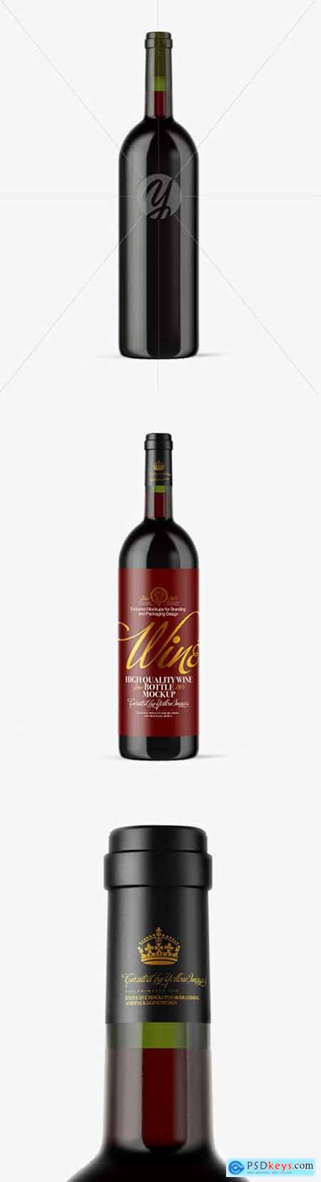 Green Glass Red Wine Bottle Mockup 51886