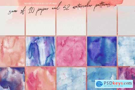 32 Watercolor & Paper Patterns