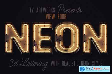 Modern Neon 3D Lettering View 4