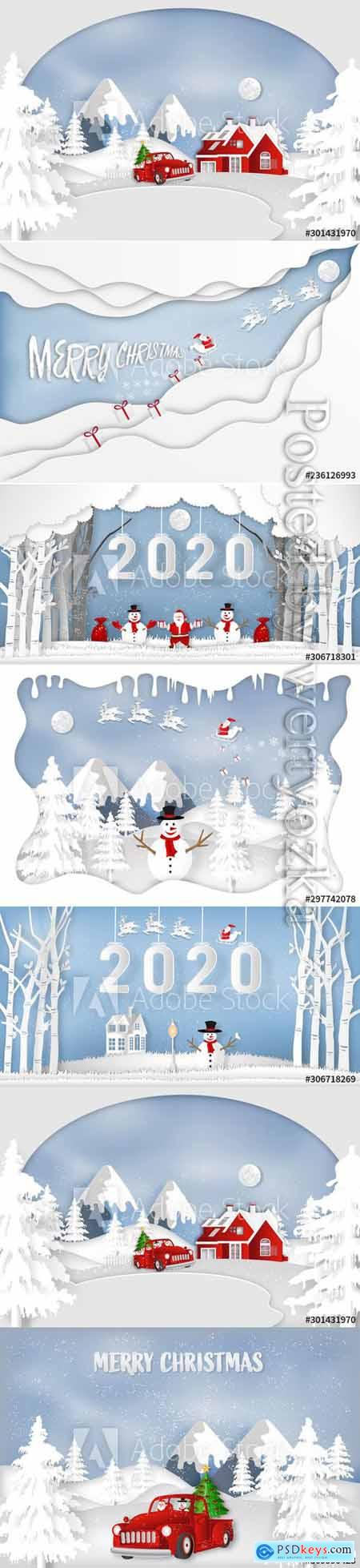 Paper art christmas, cut and digital craft style of Santa