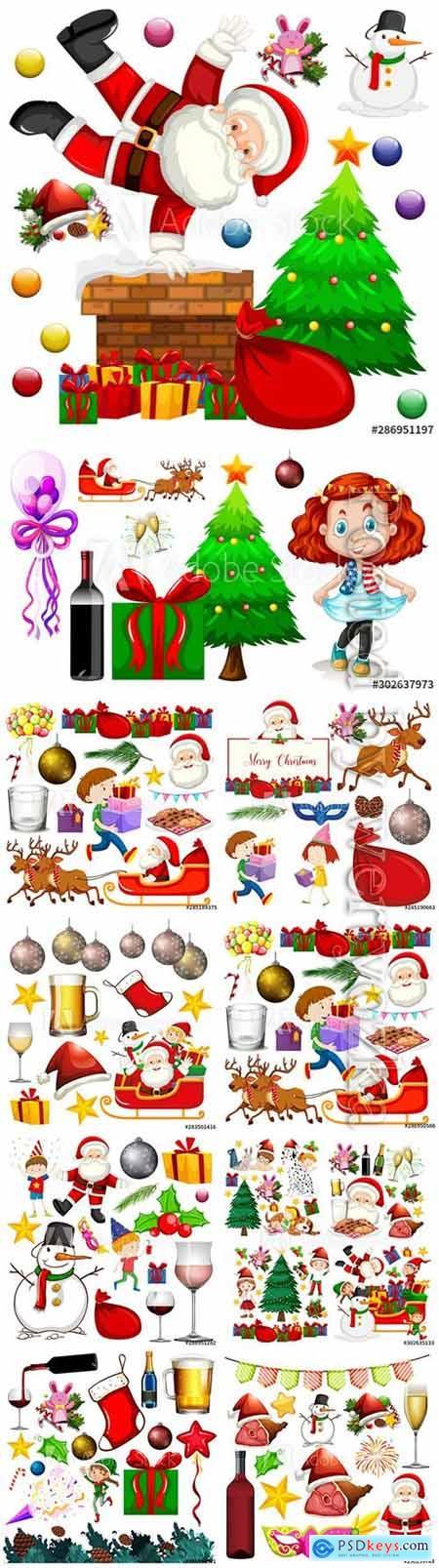 Christmas set of isolated on white background