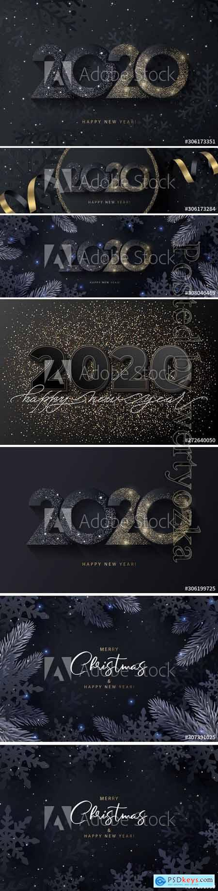 Happy New Year 2020 beautiful sparkling design of