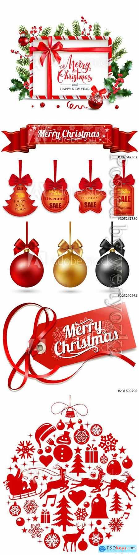 Christmas decor elements set, Happy New Year composition