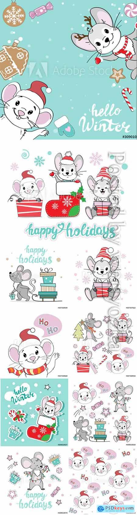 Christmas illustration set with Christmas mice on a