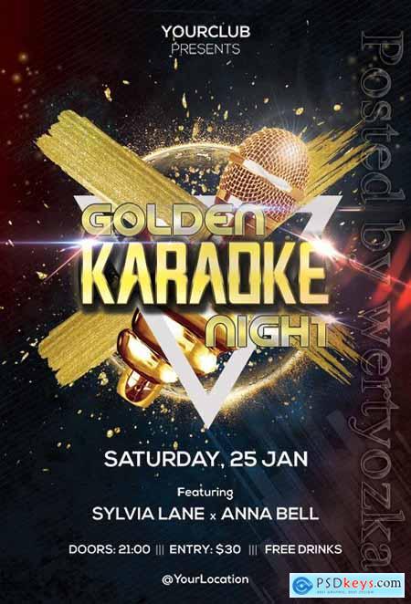 Golden Karaoke Night - Premium flyer psd template