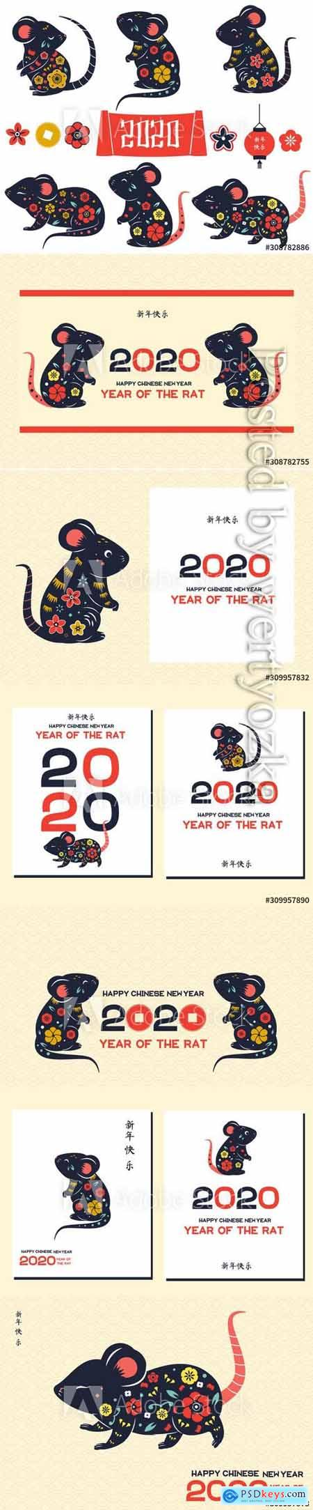 2020 year of rat, Chinese new year banner with decorated mouse