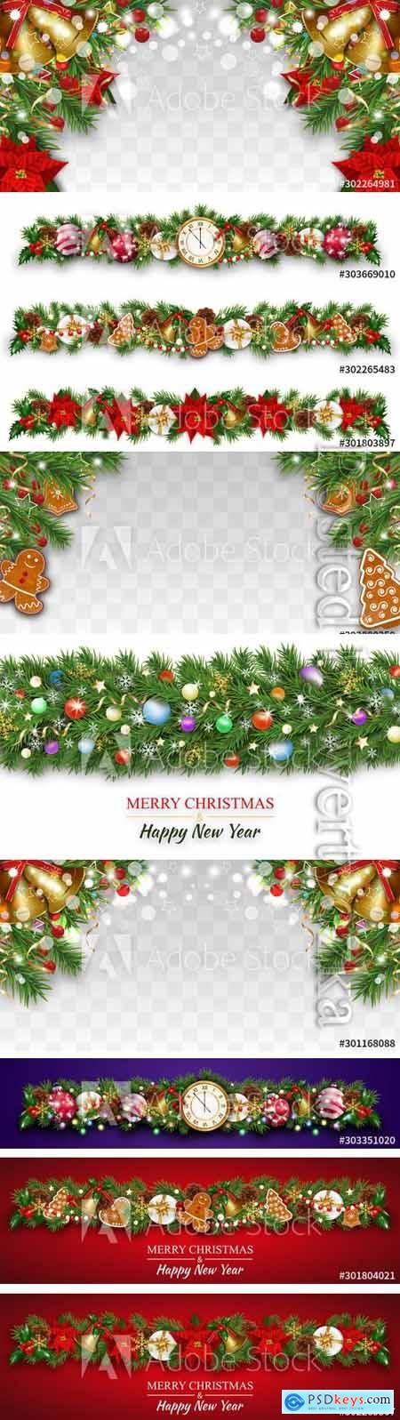 Happy New Year composition with fir tree branches, garland fective set