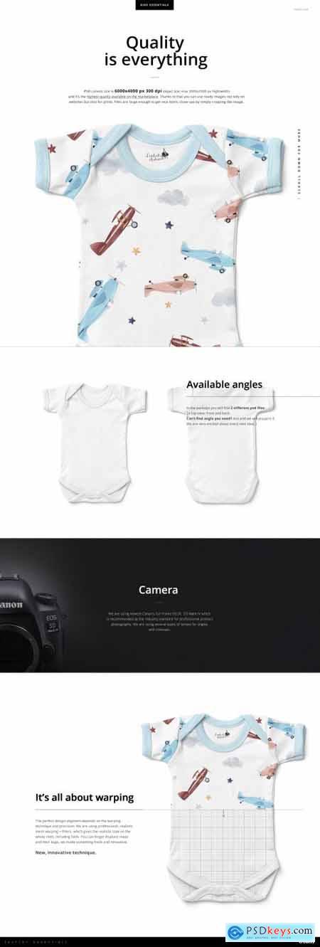 Baby Short Sleeve Bodysuit Mockup 4332362