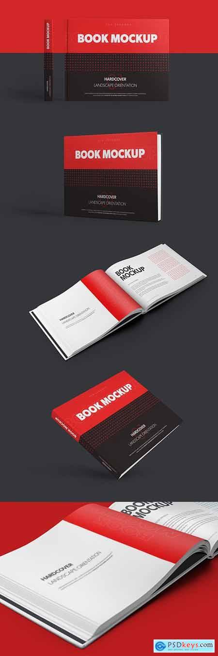 5 Mockups of Landscape Hardcover Books 310468408