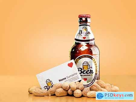 Beer Bottle Mockup with Business Card 308552820