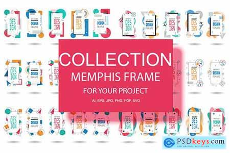 Memphis Frame Hipster Geometric Elements Halftone