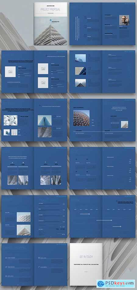 Architecture Proposal Layout with Blue Elements 310219362
