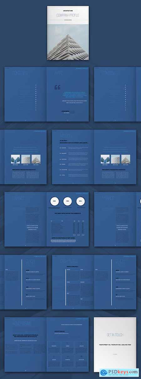 Architecture Brochure Layout with Blue Elements 310219367