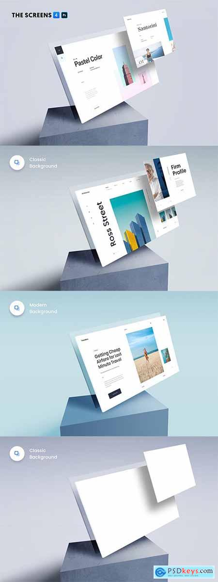 The Screens 4 - Perspective PSD Mockup Template