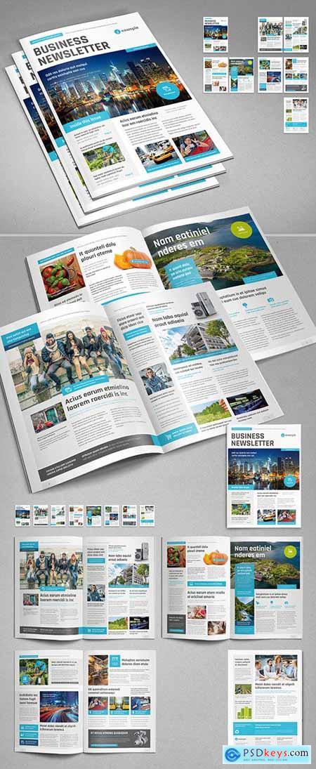 Business Newsletter Layout with Cyan Accents 310484807