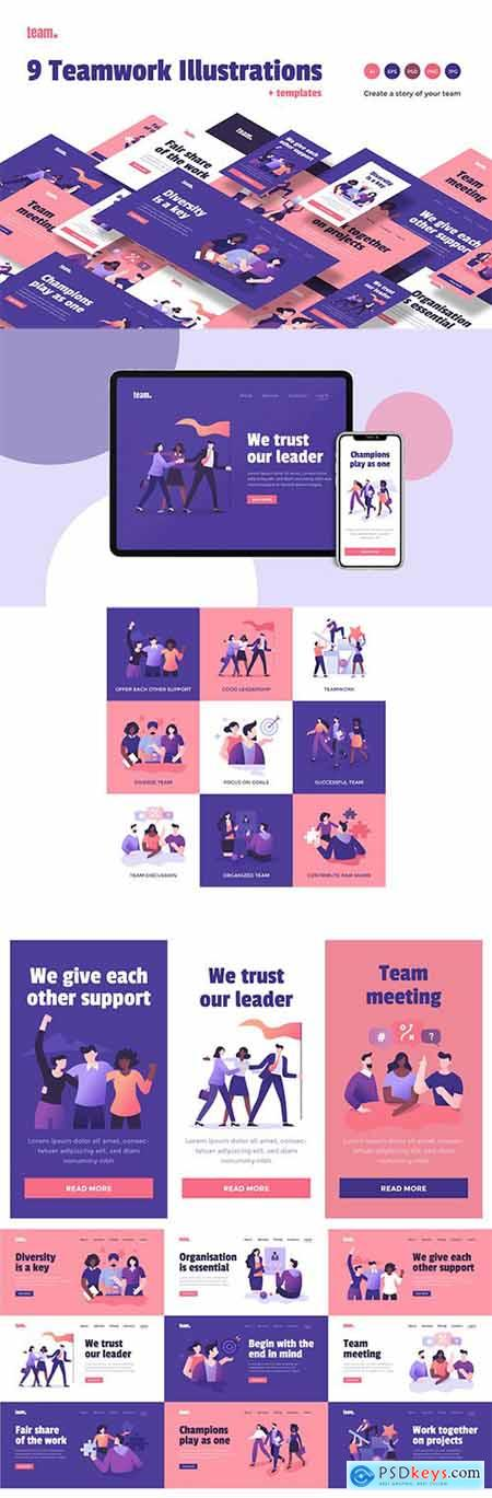 9 Teamwork Spot Concepts Set