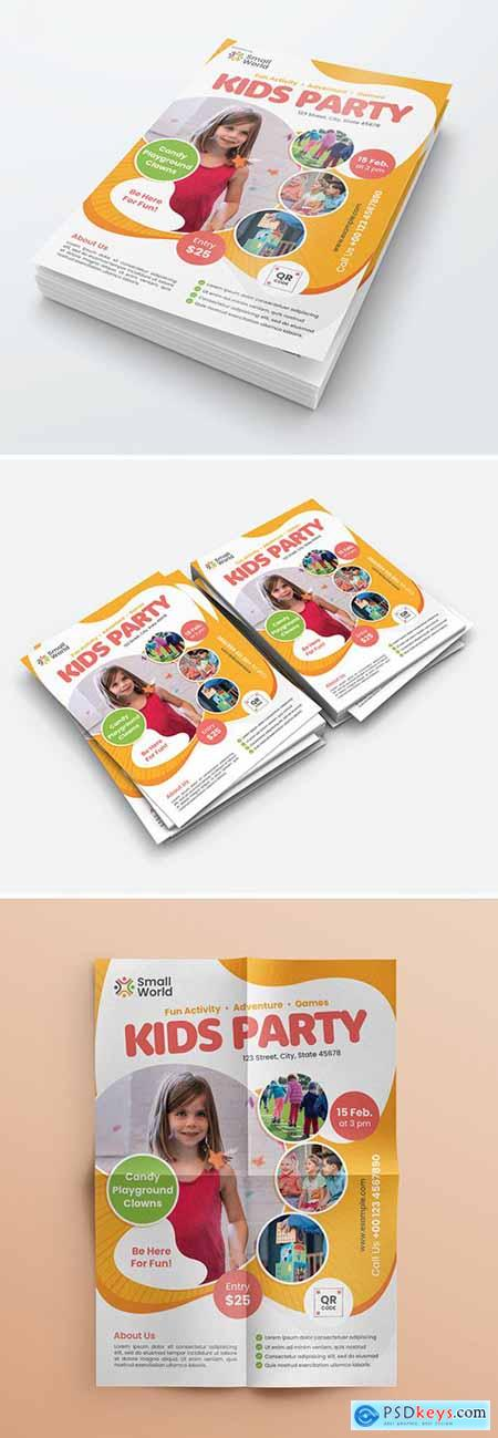 Kids Party Flyer Layout with Colorful Elements 310000667