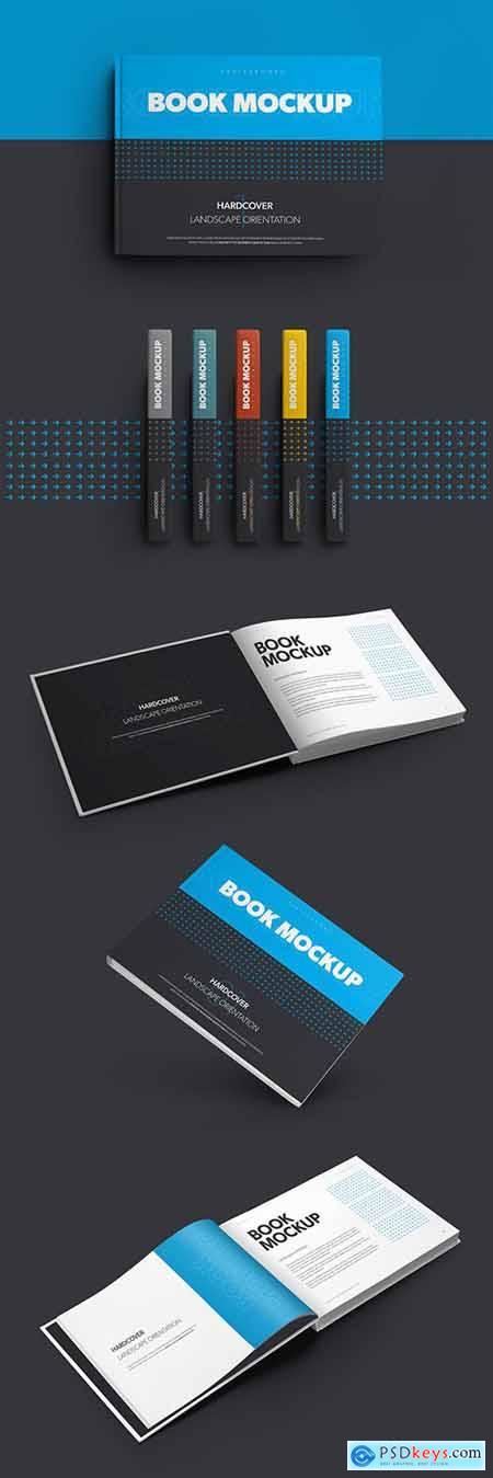 5 Mockup Set of Landscape Hardcover Books 309988748