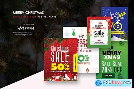 Merry Christmas Social Media Kit PSD Templates
