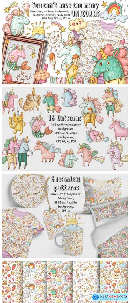 Doodle Unicorns and Patterns 2296094