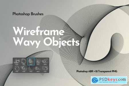 Wireframe Wavy Objects Photoshop Brushes