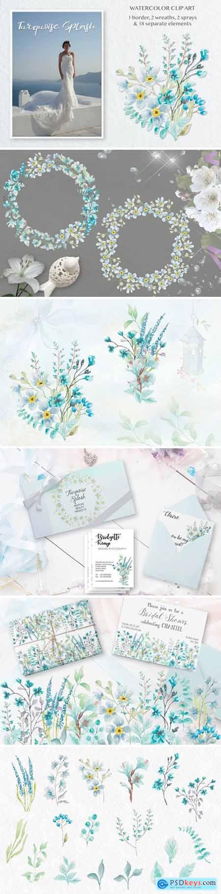 Turquoise Splash- Watercolor Clip Art Set