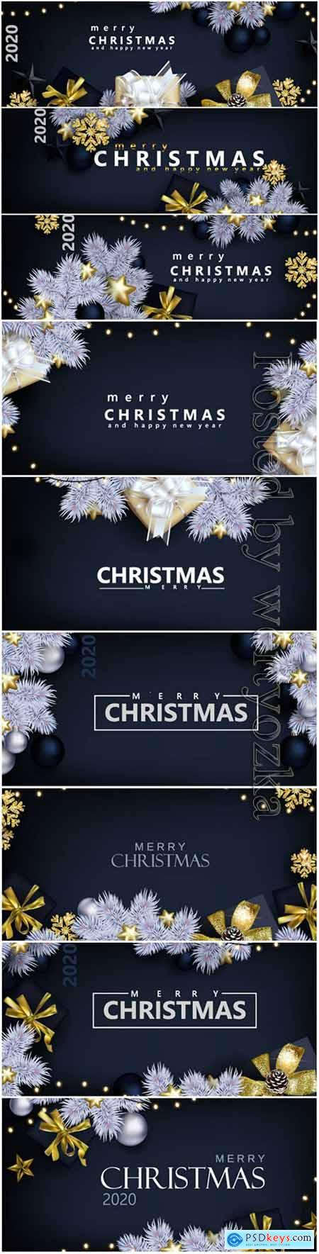 Christmas banner with white spruce on black