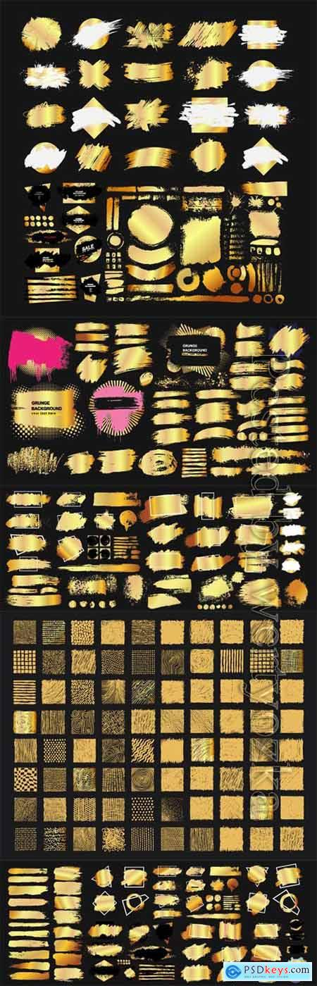 Set of golden grunge hand drawn rough box torn shapes