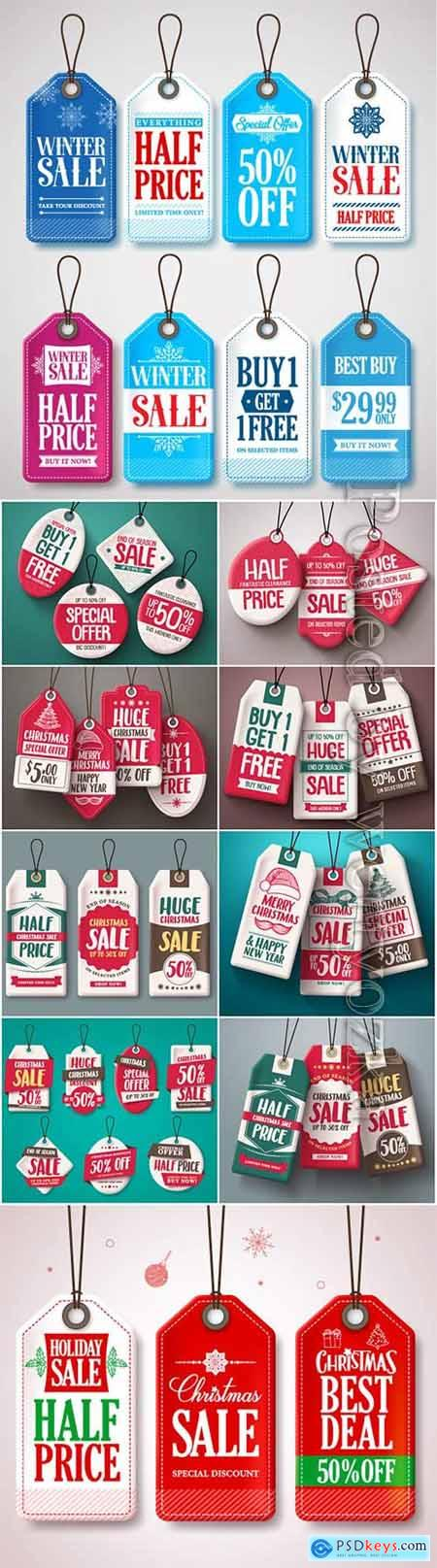 Christmas sale tags vector set with origami paper cut style