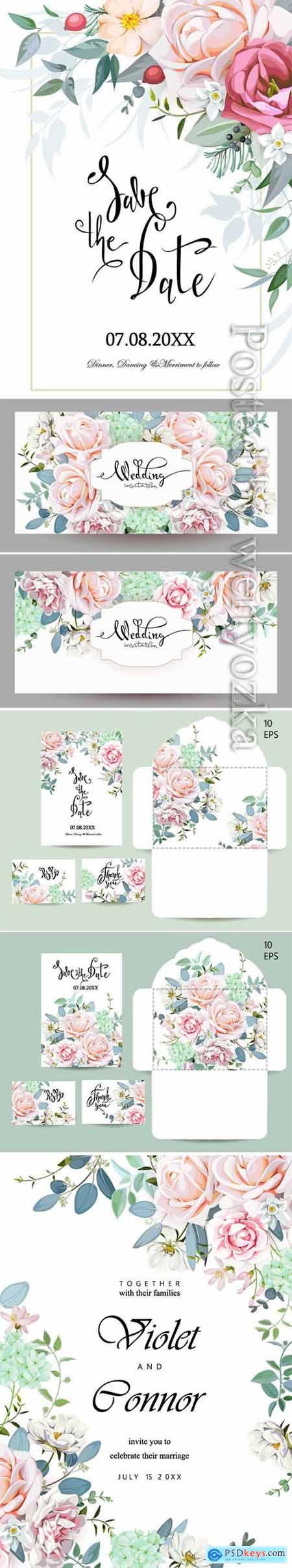Wedding vector set with invitations and an envelope