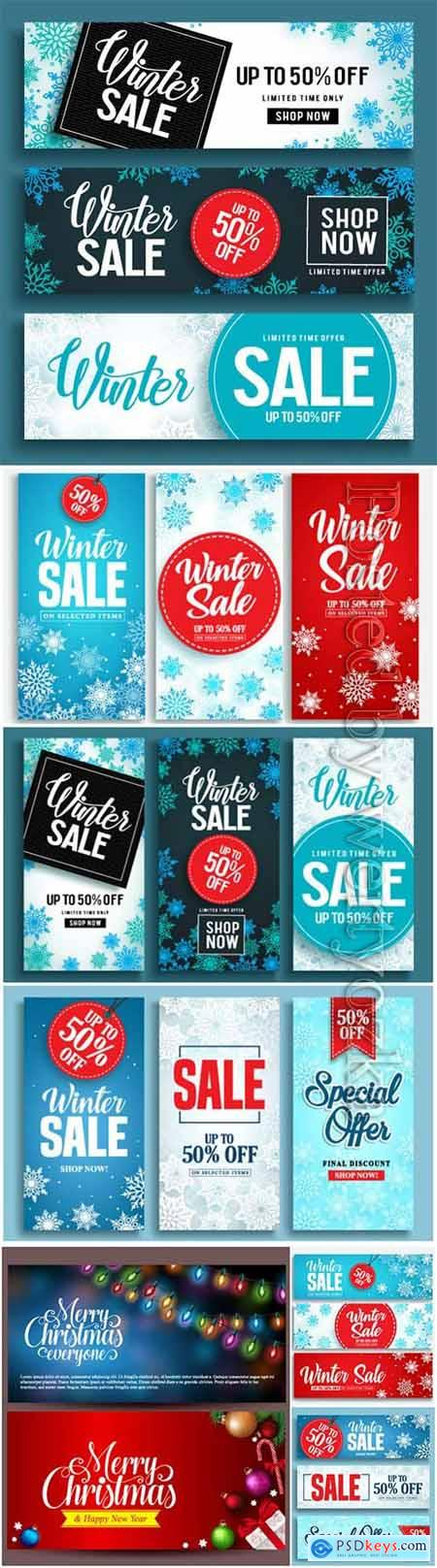 Winter sale vector banner set with discount text