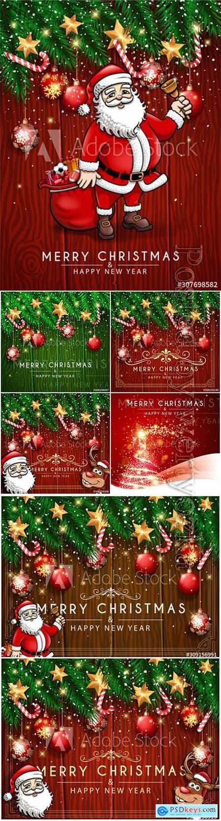 Christmas greeting vector card, Santas boarding