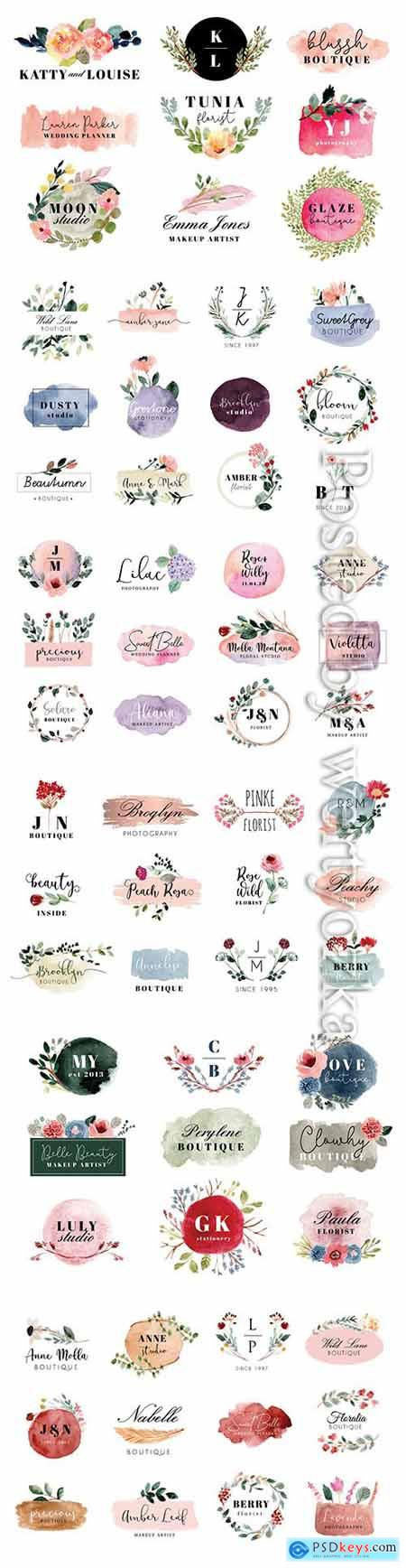 Logo with beautiful floral and brush stroke watercolor collection