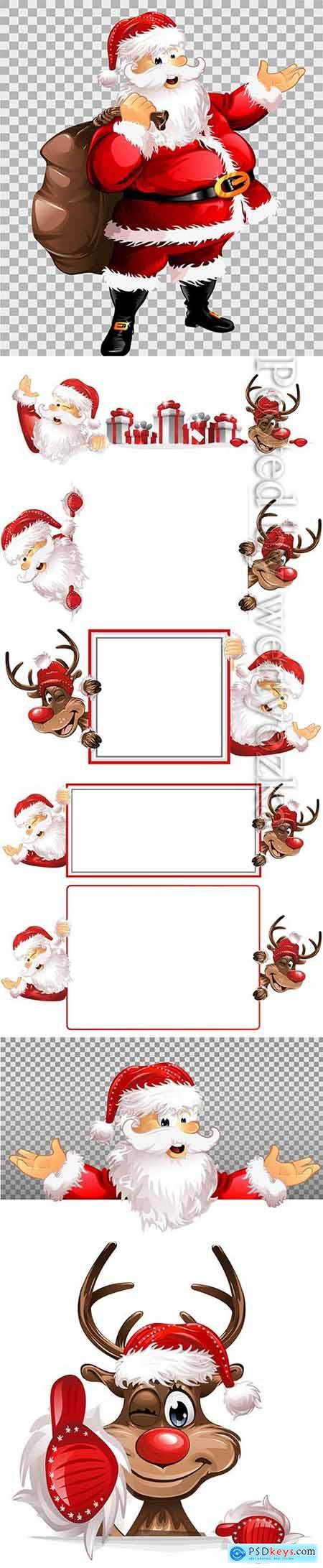 Santa Claus and deer on a vector background