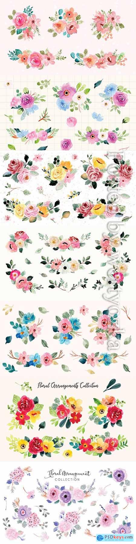 Pretty flower arrangement watercolor collection