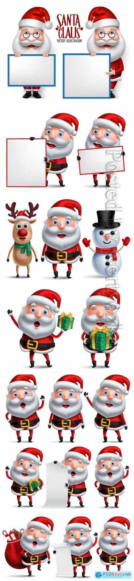 Santa claus christmas character set